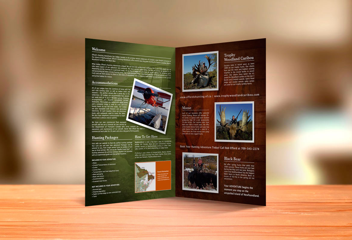 hunting outfitter brochure design Newfoundland